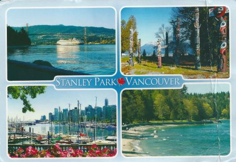 Four photos of Stanley Park in Vancouver, Canada. A cruise ship, sail boats, a beach and Totem Poles.