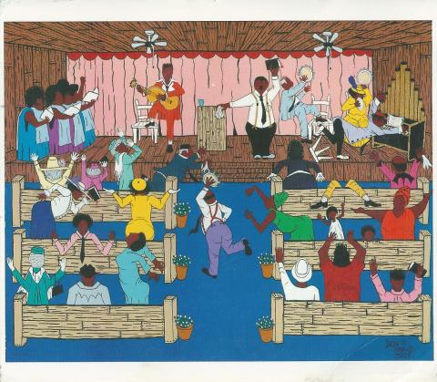 Illustration of a baptist revival in the Deep South of United States. People are dancing, singing and playing music.