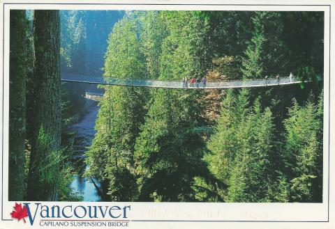 A suspension bridge over a river, Capilano, Vancouver, Canada.
