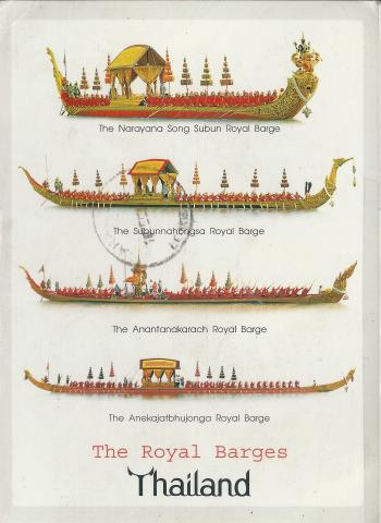 Illustrations of four royal barges from Thailand.